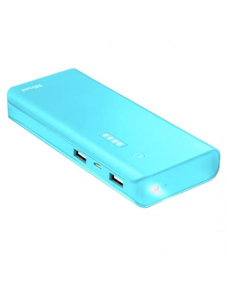 BATERÍA EXTERNA TRUST URBAN BLUE PRIMO POWERBANK 10000MAH - USB 5W/1A + USB 10W/2.1A - 2XCABLE MICROUSB - FUNC. LINTERNA - UNIVE