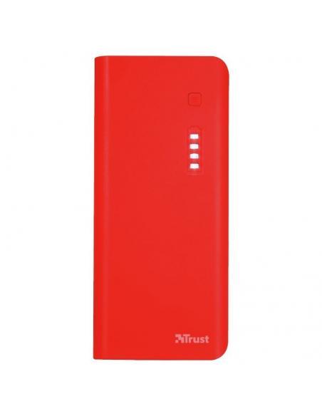 BATERÍA EXTERNA TRUST URBAN RED PRIMO POWERBANK 10000MAH - USB 5W/1A + USB 10W/2.1A - 2XCABLE MICROUSB - FUNC. LINTERNA - UNIVER