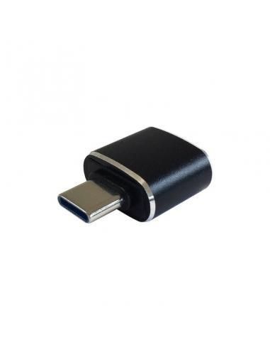MINI ADAPTADOR USB 3.1 GEN2 AISENS A108-0369 - CONECTORES TIPO USB-C/M A USB TIPO A/H - 3A - NEGRO - COMPATIBLE CON PUERTO THUND