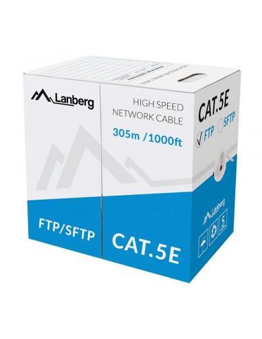 BOBINA DE CABLE LANBERG LCF5-11CU-0305-S - RJ45 - CAT5E - FTP - AWG24 - 305M - GRIS - TRENZADO - Imagen 1