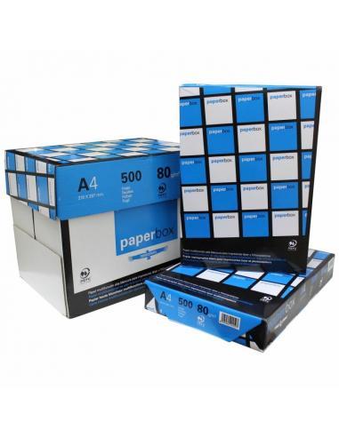 PAPEL PAPERBOX 5 PAQUETES X 500 HOJAS - DIN A4 80GRS - PAPEL DE OFICINA DE ALTA BLANCURA - Imagen 1