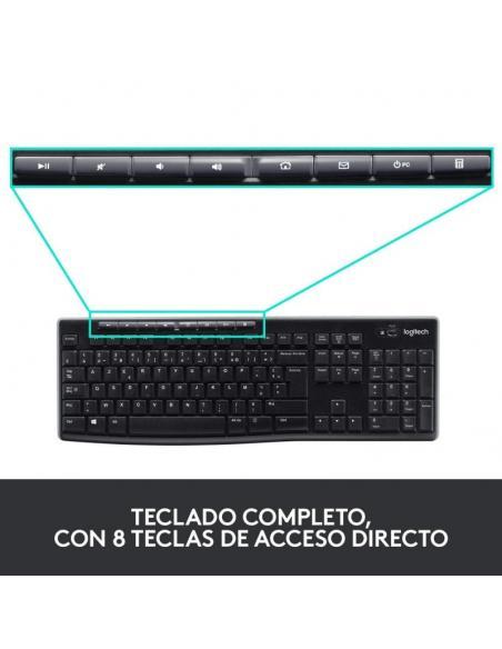 TECLADO Y RATÓN INALÁMBRICOS LOGITECH DESKTOP MK270 2.4GHZ USB  NEGRO 920-004513 - Imagen 5