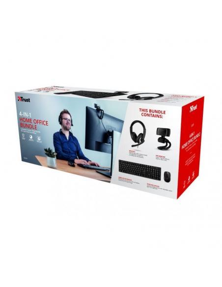 PACK 4 EN 1 TRUST QOBY HOME OFFICE SET - WEBCAM HD 720P - TECLADO INALÁMBRICO - RATÓN INALÁMBRICO - AURICULARES CON MICRÓFONO -